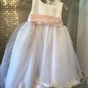US Angels Lace and Satin Flower Girl Dress w/pink